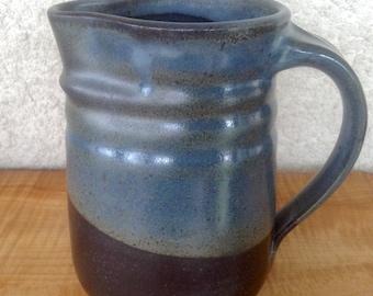 Oval Pitcher, Blue and Black Glaze