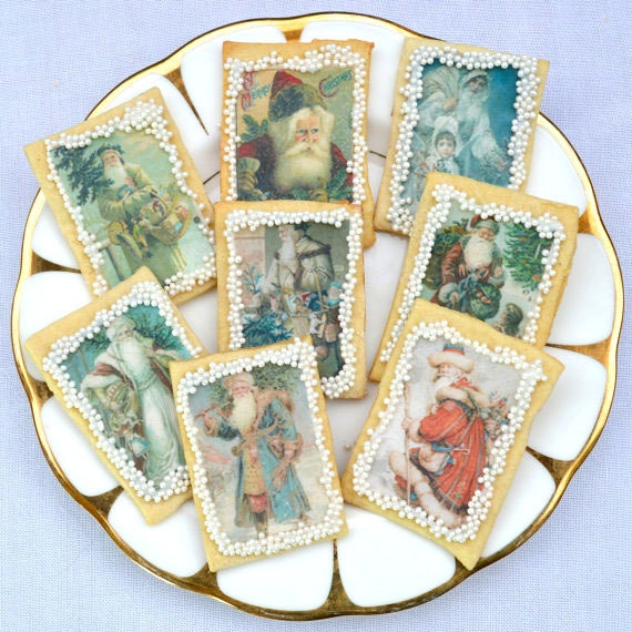 Victorian Father Christmas Decorations: Edible Father Christmas X 96 Wafer Rice Paper 'Merry' Red