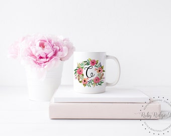Personalized Mug | Bridesmaid Gift | Personalized Gift | Watercolor Floral Wreath Monogram Mug | Monogrammed Mug | Initial Mug | Under 50