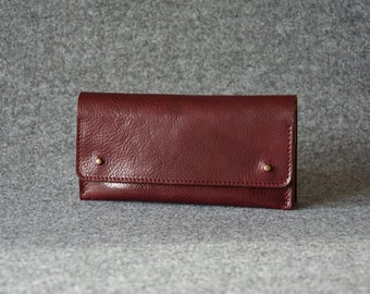 Womens Wallet - Leather Clutch - Burgundy - Leather Wallet For Women, Leather Purse, Leather Pouch, Gift For Her
