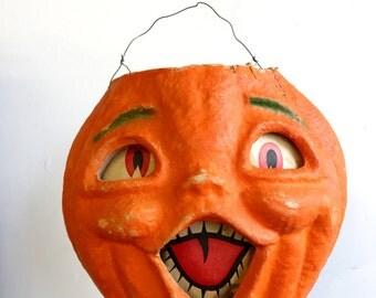 1950s Papier Mache Pumpkin Jack-O-Lantern Halloween
