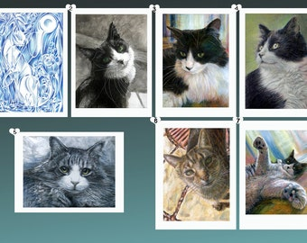 Cat Card Collection - all from original artwork by D Y Hide