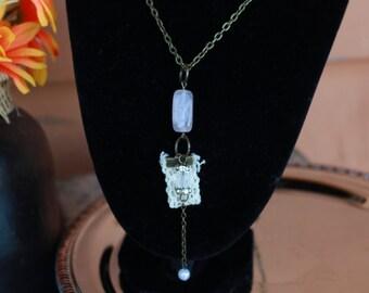 Long Romantic Gemstone Lace Charm Necklace - 00039