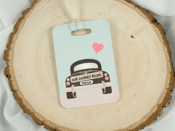 Wedding Gift Luggage Tags : Wedding Gift - Newlywed Luggage Tag - Journey Begins Luggage Tag ...