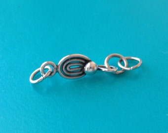 Sterling Hook Clasp, Spiral and Ball Hook Clasp, SS Hook Clasp, Silver Hook Clasp, SS Spiral and Ball Hook Clasp, 16mm