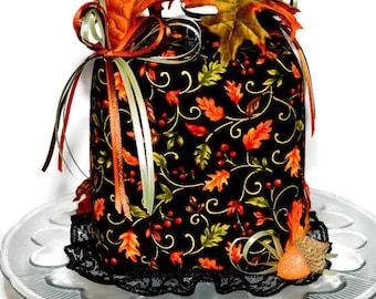 Thanksgiving Tissue Box Cover Fall Autumn Leaves  Acorns Ribbons Black Lace Seasonal Fall Harvest Handmade Fabric Tissue Dispenser M-143