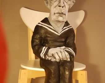 Buster Keaton Sculpture, Paper Mache Figure, Handmade figure