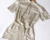 vintage 1930s blouse <> 1930s silver metallic top <> 30s metallic fiber blouse <> 30s silver lame blouse
