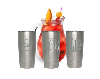 We personalize YETI tumblers - Monogram in 3 colors - Monogram stainless steel tumbler - Mothers Day - gift for her - laser marking - 20 oz