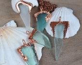 St Valentine Sale Sea Glass Pendant, Natural Sea Glass in copper frame, Seafoam Mermaid Jewelry, Geometric Seaglass Necklaces, OOAK handmade
