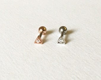 Petite Sparkly Triangle(3mm)Barbell Cartilage,Tragus,Helix,Conch,Ear Piercing 16 Gauge(EPC-128),Surgical Steel,Available in Silver,Rose Gold