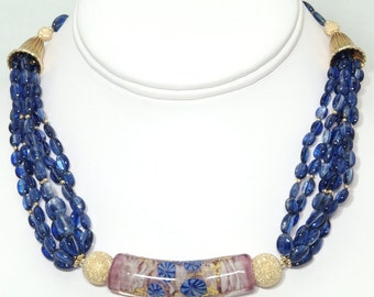 BN077- Six-strand Blue Kyanite and Gold necklace with large fancy Lampwork Glass focal bead