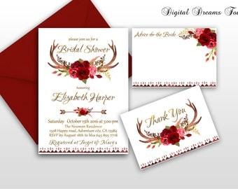 Boho Bridal Shower Invitation Printable Rustik Bridal Invite Floral Bridal Invitation Boho Chic Bridal Invitation Fall Bridal Shower Autumn