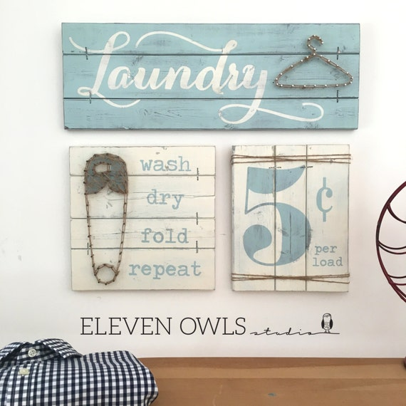 Laundry sign set laundry room decor laundry by for Room decor signs