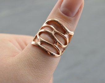 Rose Gold Lace Coral Reef Statement Ring - Gold Filigree Nature Wide Ring