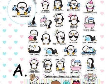 Kawaii Penguin Planner Sticker (#019)