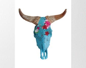 Cow skull Print, Buffalo Skelaton Art, INSTANT DOWNLOAD, Decorative skull, bull head print, boho wall art, bull horns, southwestern