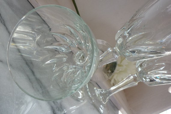 "Two J G Durand Cristal d' Arques vintage ""Flamenco"" wine glasses, great for a wedding gift, celebrations, dinner parties"