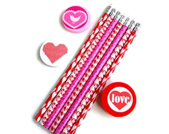 Stationery set, pencils, school set, eraser, pencil sharpener, hearts, pink, red, white, planner supplies, school supplies, love