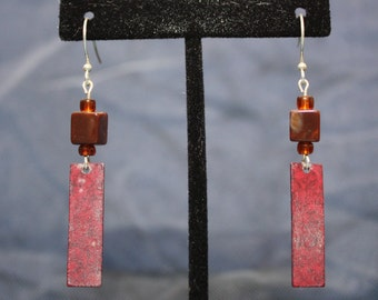 up-cycled bead & flat metal charm earrings