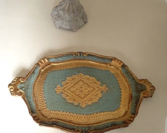 The old gold and blue, patina Venetian tray