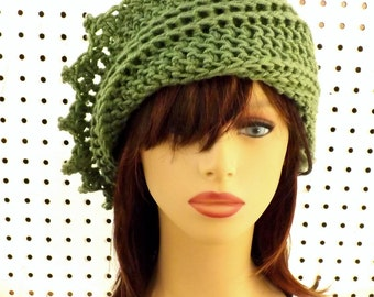 Womens Crochet Hat Womens Hat Trendy,  Crochet Beanie Hat,  Sage Green Hat,  Lauren Beanie Hat Women