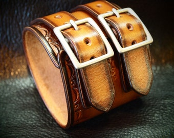 Leather cuff Bracelet hand stamped Depp style wristband watchband Tan fade leather jewelry made in NYC for YOU by Freddie Matara