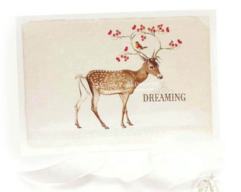 Deer Christmas card, dreaming, reindeer with a robin, traditional Christmas card, blank inside