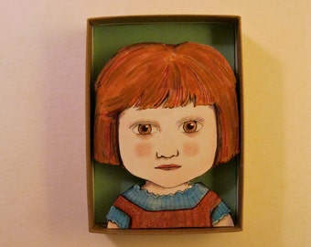 redhead girl , Shadowbox art, Diorama, whimsical art , sandy mastroni,Small art, Wall art collection,