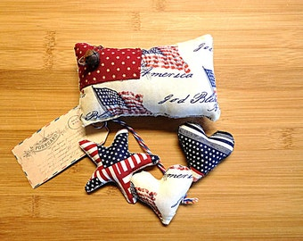 Americana Pillow Star Patriotic Bowl Filler Independence Day Decorations