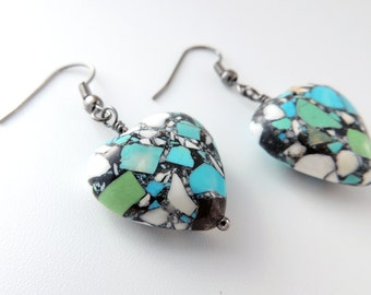 Blue Mosaic Heart Earrings -- Magnesite Stone Bead Drops -- Gunmetal Black Hooks -- UK Shop