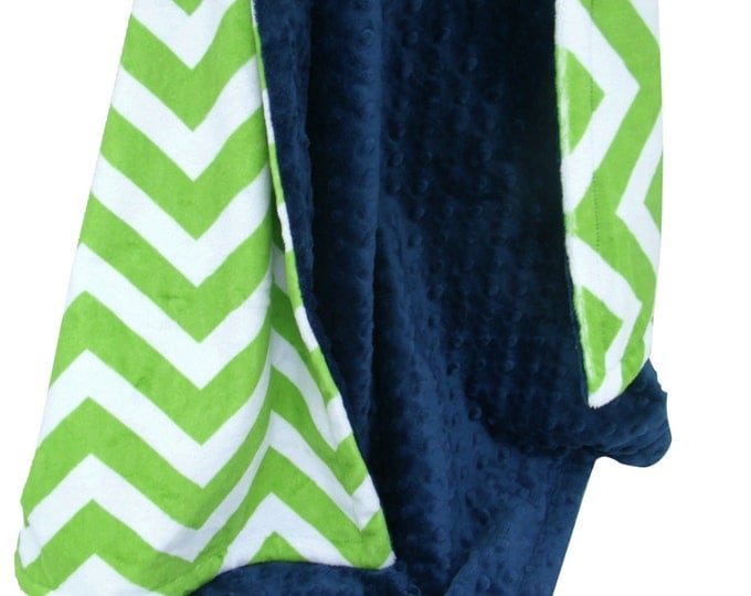 Navy Blue Minky Dot and Lime Green Chevron Minky Baby Blanket, three sizesCan Be Personalized