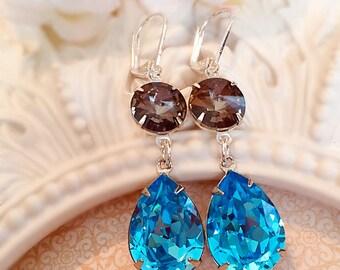 Aqua Earrings - Best Bridesmaid Gifts - Flirty Earrings - Bridesmaid Jewelry - Formal Event Jewelry - ANGELINA Aqua