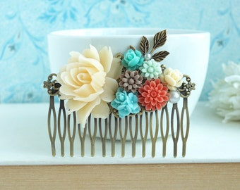Wedding Comb, Large Floral Comb Coral Mint Wedding Ivory and Mint Blue Comb Maid of Honor Gift, Big Bridal Wedding Comb, Rustic Floral Comb