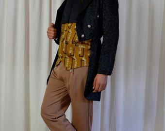 Men's Mens Tailcoat, Black Cutaway Coat, Steam Punk Coat, Vampire Tailcoat, Mad Hatter Coat,
