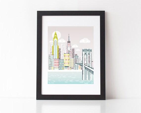 New York Print, Brooklyn Bridge Skyline Wall Art, American Cityscape, Christmas Gift, City, Kids room and Nursery Decor, Style: SPPNYBB1