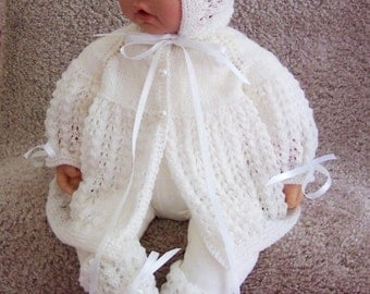 Handmade Knit Baby or Reborn Sweater hat booties set layette white in lace stitch Christening Baptism 0-12M Precious and Ready To Ship