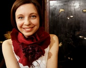 Nuno felted ruffle merino wool and silk shawl scarf in vinous