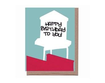 Water Tower Birthday Card