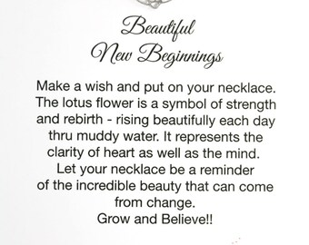 Lotus Necklace and Card, Encouragement Gift for New Beginnings, 925 Sterling Silver