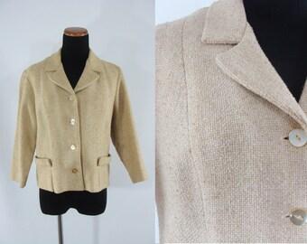 SALE Vintage Sixties Jacket - 1960s Cropped Tweed Jacket - 60s Blazer - Large Tan Jacket