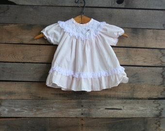 Vintage Children's Pink & White Lace Dress by Alexis Size 9 Months