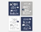 Baby Boy Nursery Art - Elephant Nursery Decor - Elephant Nursery Prints - Elephant Nursery Art - Navy White Gray - You Pick the Size
