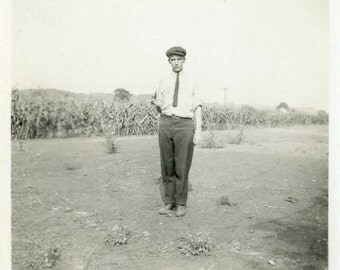 "Vintage Photo ""Gary is Sad"" Young Man Snapshot Photo Old Antique Photo Black & White Photograph Found Photo Paper Ephemera Vernacular - 140"