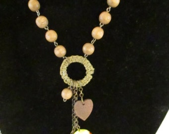 Vintage Necklaces Necklace Charms Wooden Beads Hearts Yellow Ceramic Charm Metal Bird Charm Costume Jewelry Antiqued Gold Tone Chain Links