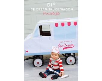 DIY Ice Cream Truck Wagon PRINTABLE DOWNLOAD Halloween party photo prop by Itsy Belle
