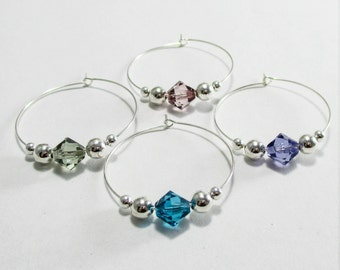 4 wine charms | gift box | Swarovski ® Crystal Elements wine glass charms - wine marker - bulk wine gift - wedding wine favor - wine SSC4-1