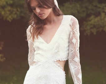 "Bohemian Lace Wedding Dress, Backless Gown, Long Sleeves Lace Dress, Crochet Lace Wedding Gown - ""Brit"""