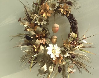 Fall Front Door Grapevine wreath with Lg Acorns, Burlap Bow, Fall flowers and Leaves, Burlap Bow, Pinecones and Grass Heads