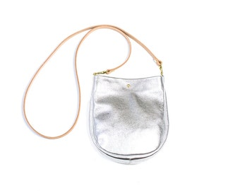 SUZIE Small Leather Purse. Small Silver Purse. Small Leather Crossbody Bag